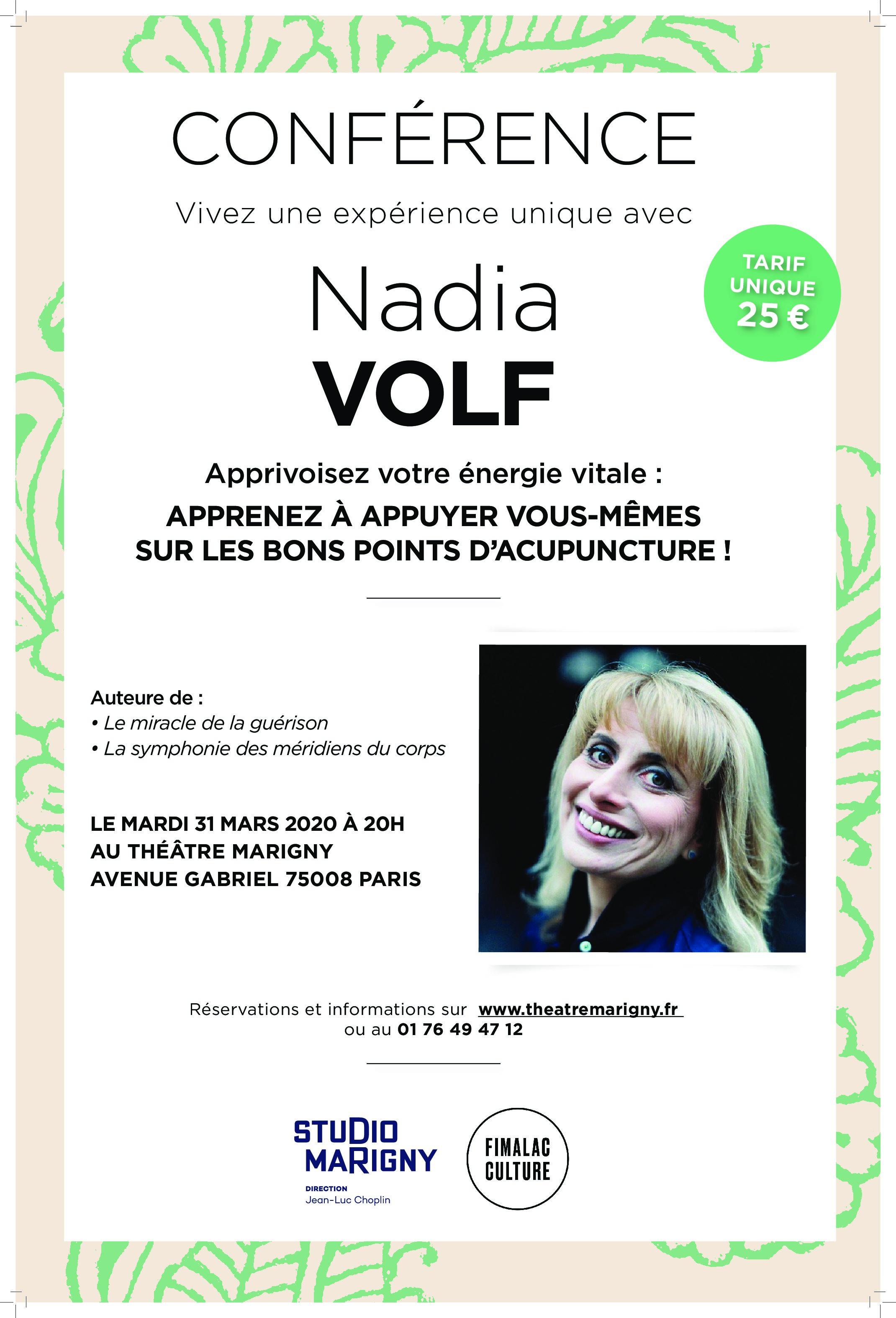 Conférence Nadia Volf : Apprivoisez-votre énergie vitale !